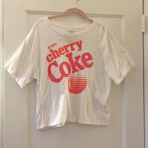Tops - Target cherry coke white crop top T-shirt sz large